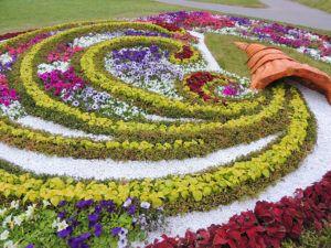 """В клумбе по типу сухого ручья должен быть элемент, из которого """"вытекают"""" цветы"""