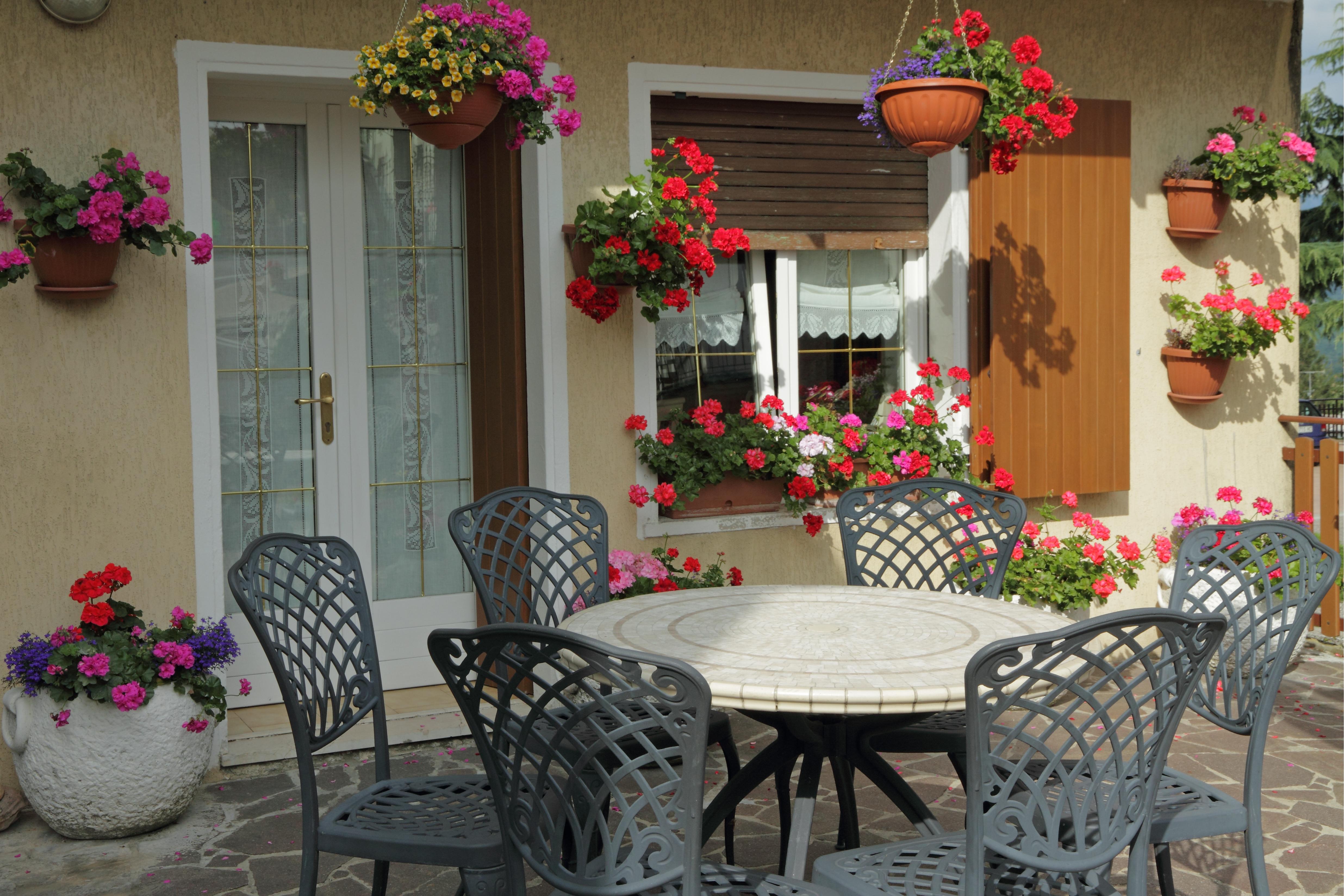 В зоне отдыха можно разместить растения с яркими цветами и приятным тонким ароматом