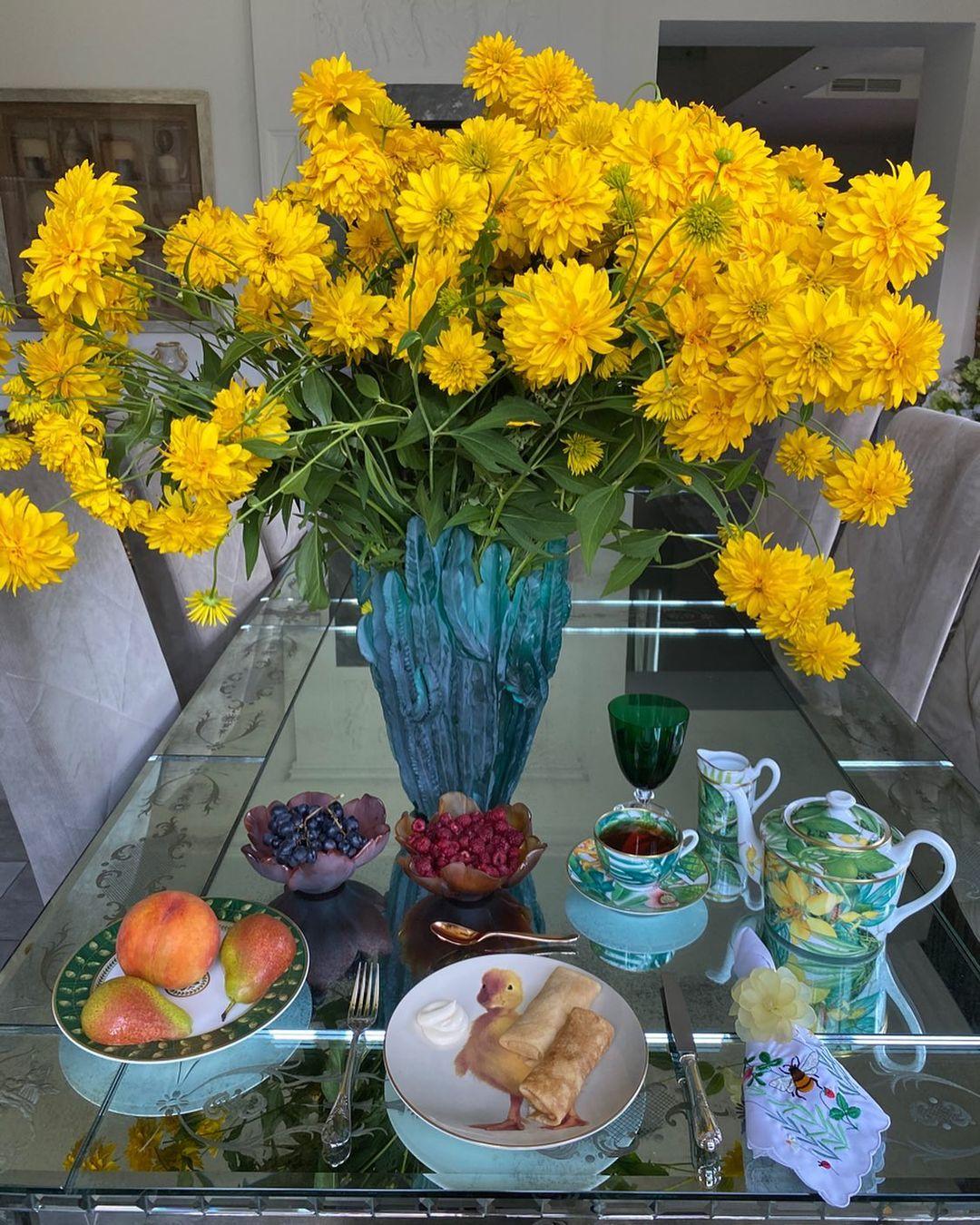 Желтые шары, Цветы, Завтраки Яны Рудковской