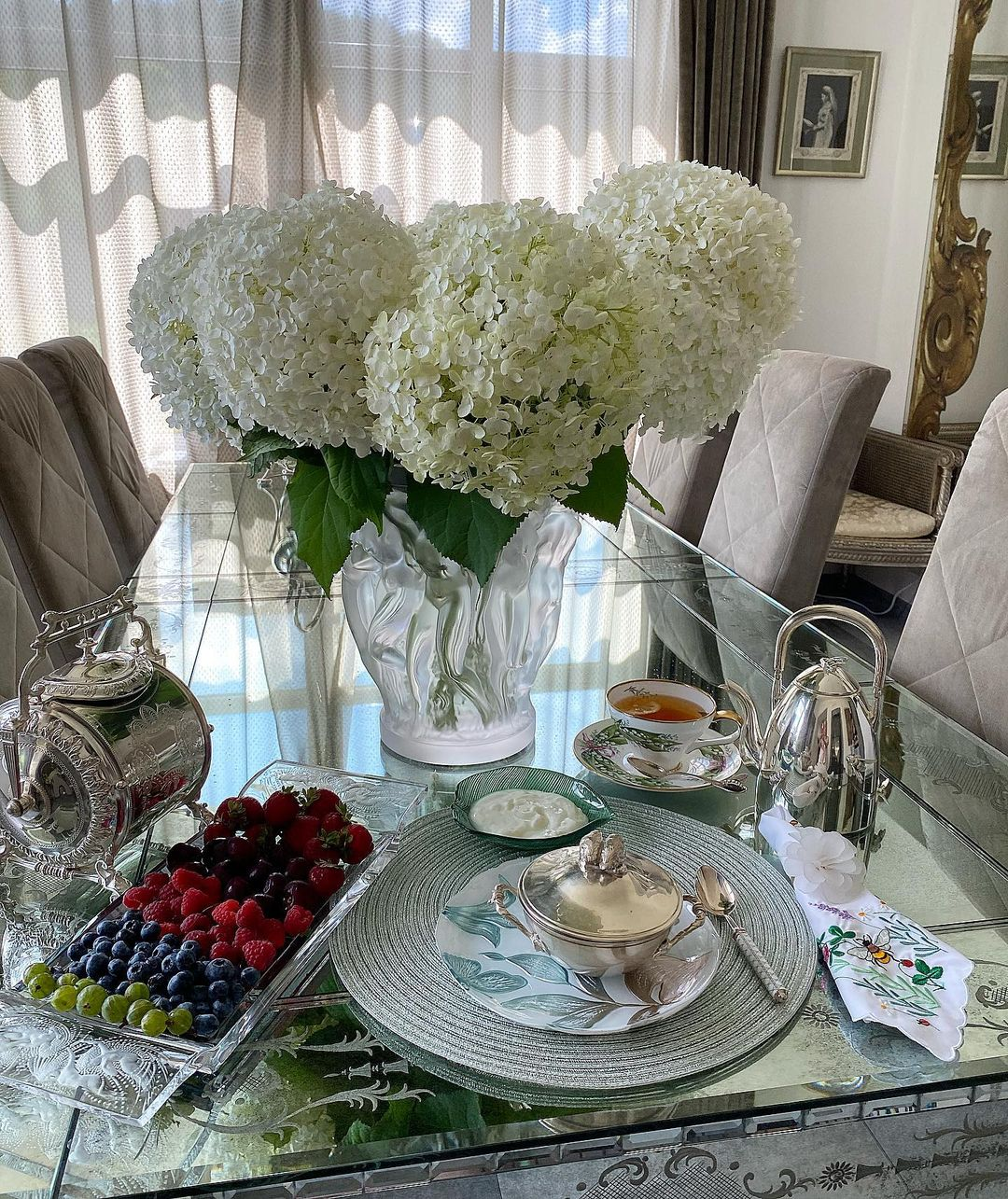 Белая гортензия, Букет, Цветы, Завтраки Яны Рудковской