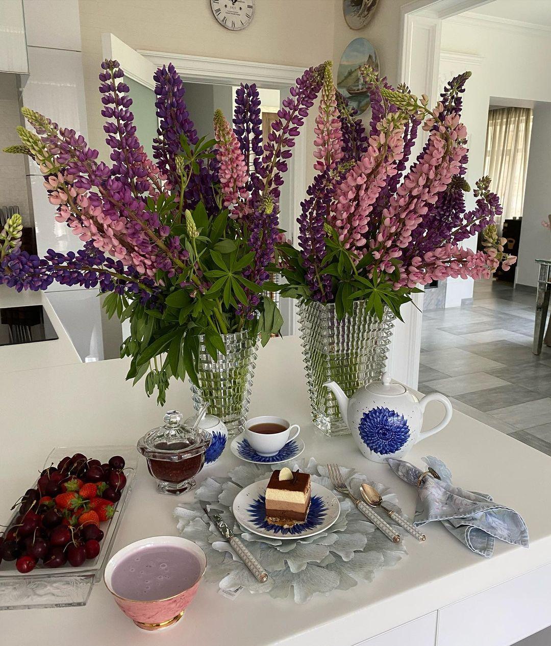 Люпины, букет, Цветы, Завтраки Яны Рудковской