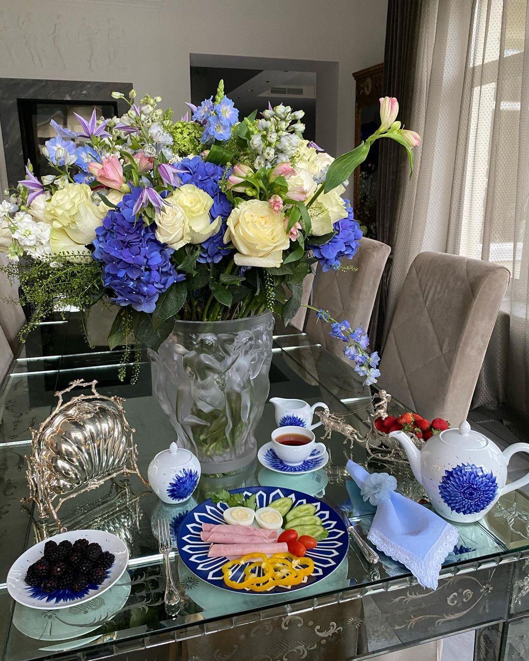 Букет, Голубые Цветы, Завтраки Яны Рудковской