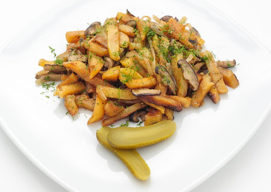 картошка с замороженными грибами